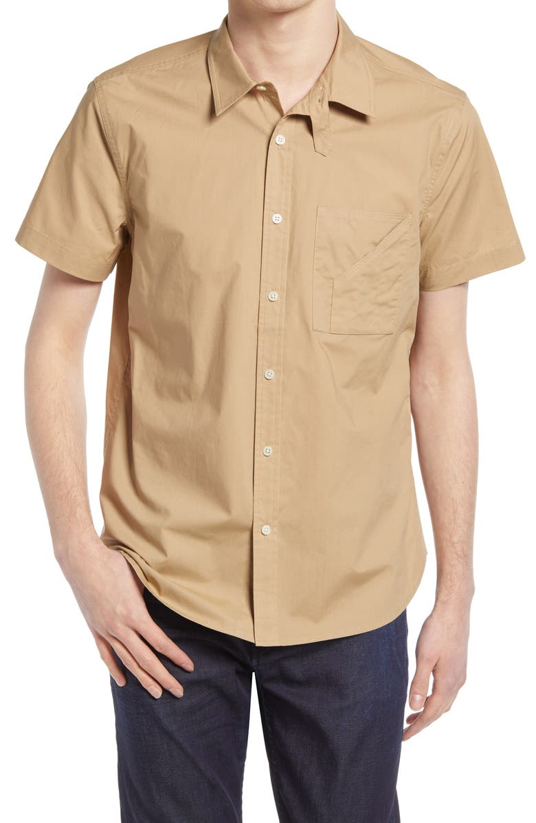 7 FOR ALL MANKIND<SUP>®</SUP> Slim Fit Button-Up Poplin Shirt, Main, color, TAN
