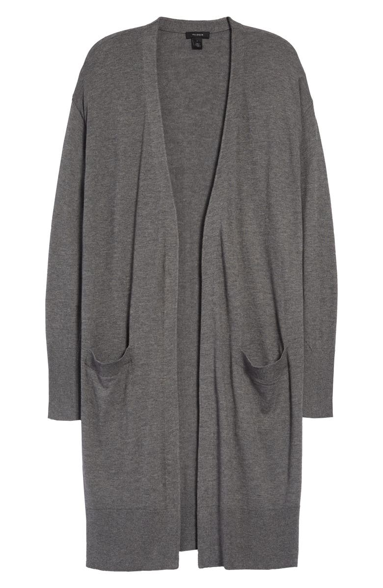 HALOGEN<SUP>®</SUP> Open Front Pocket Cardigan, Main, color, GREY DARK HEATHER