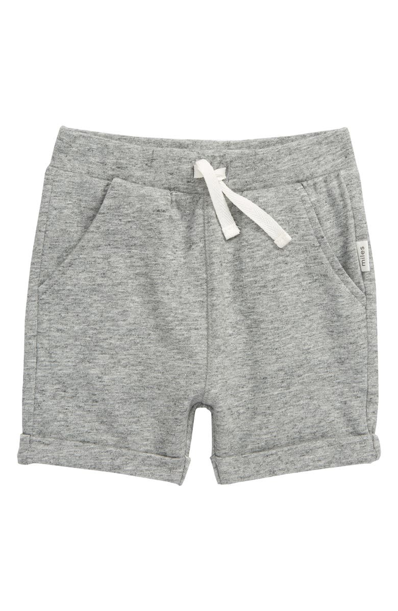 MILES baby Knit Shorts, Main, color, DARK HEATHER GREY