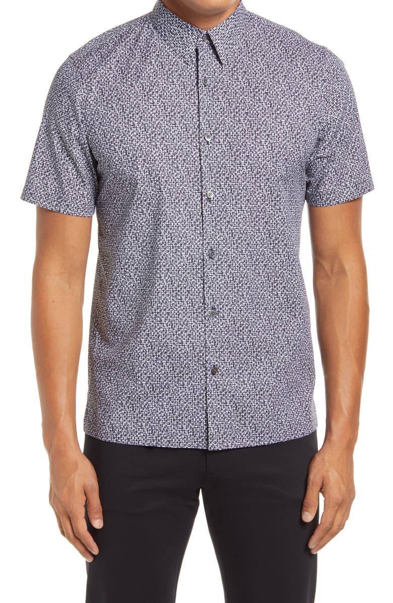 THEORY Irving Slim Fit Cast Print Short Sleeve Button-Up Shirt, Main, color, AIR FORCE MULTI