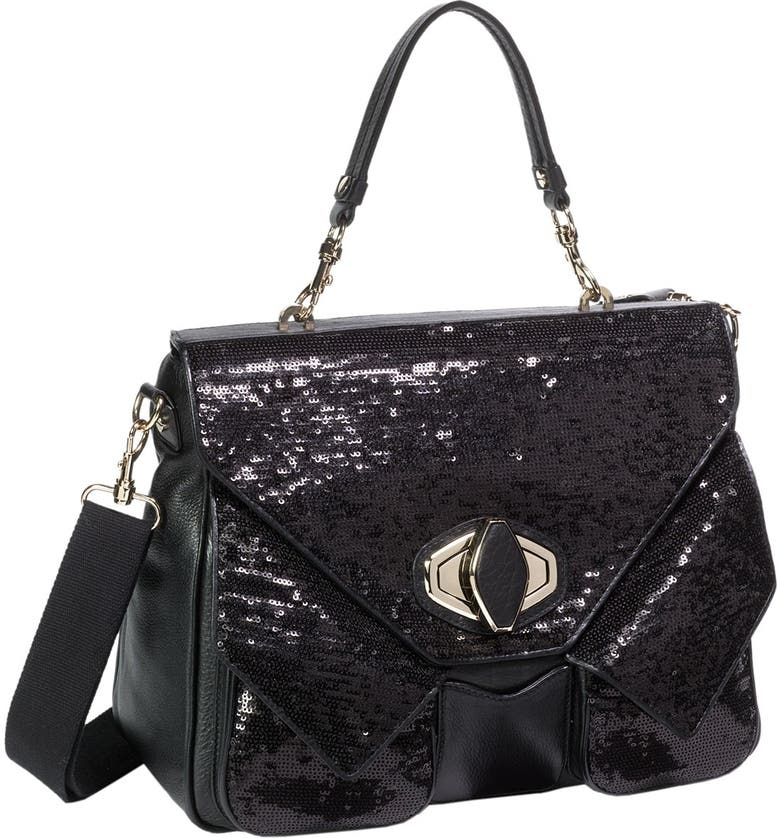 ALEXIS HUDSON 'Arlene' Sequin Flap Satchel, Main, color, 001