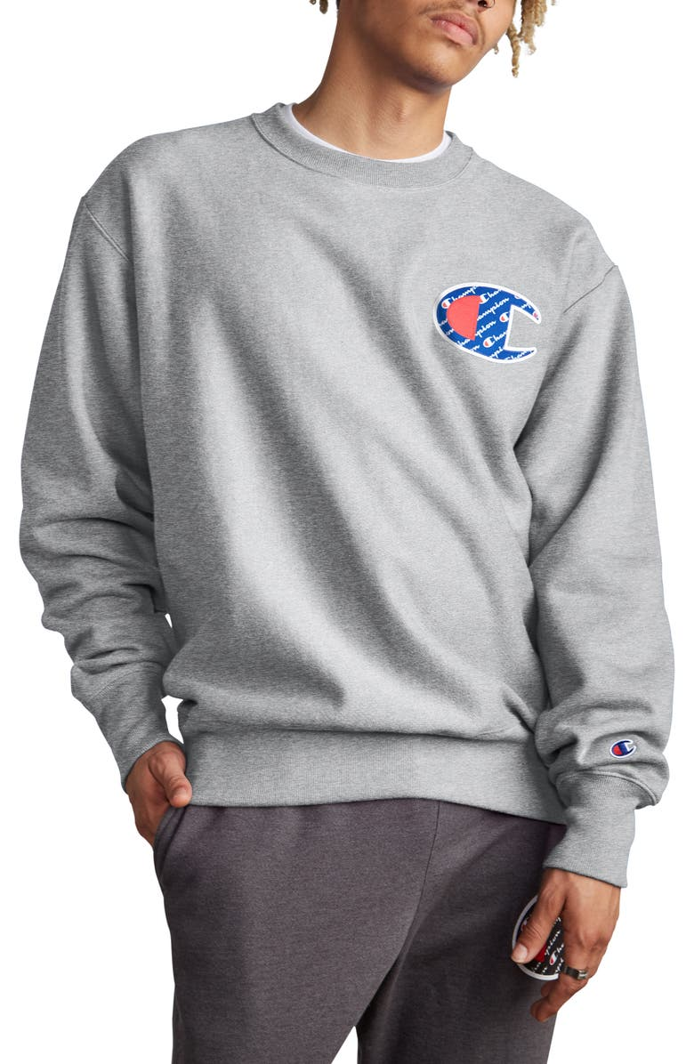 CHAMPION Sublimated Logo Crewneck Sweatshirt, Main, color, 021