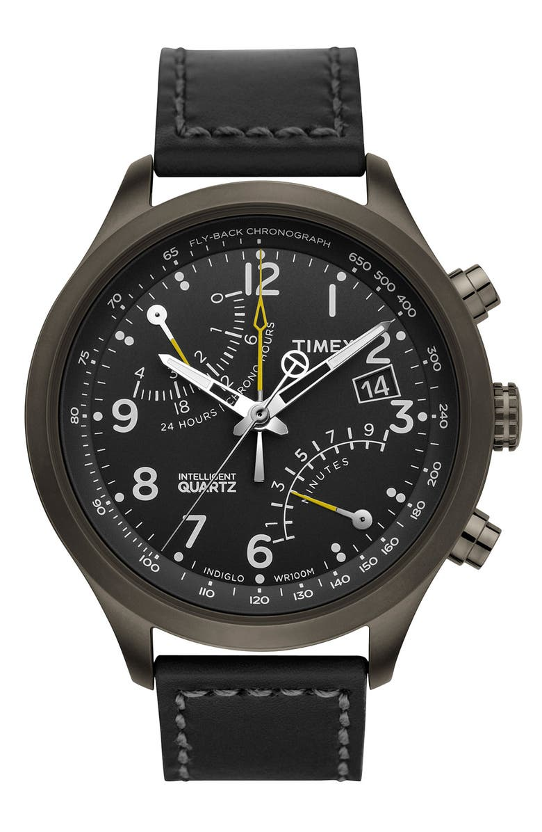 TIMEX<SUP>®</SUP> 'Intelligent Quartz' Flyback Chronograph Watch, 45mm, Main, color, 001