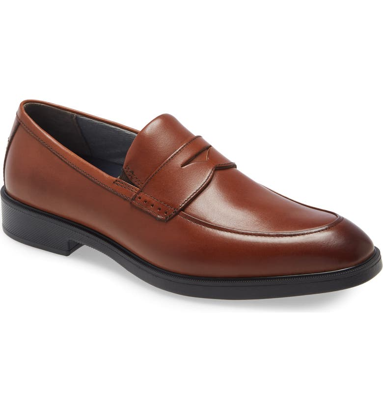 JOHNSTON & MURPHY XC4 Maddox Waterproof Penny Loafer, Main, color, COGNAC FULL GRAIN