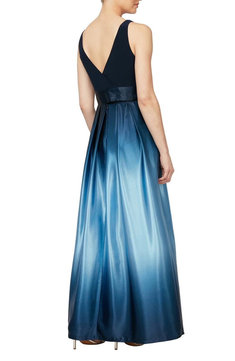 SLNY Ombre Satin Gown, Main, color, NVW
