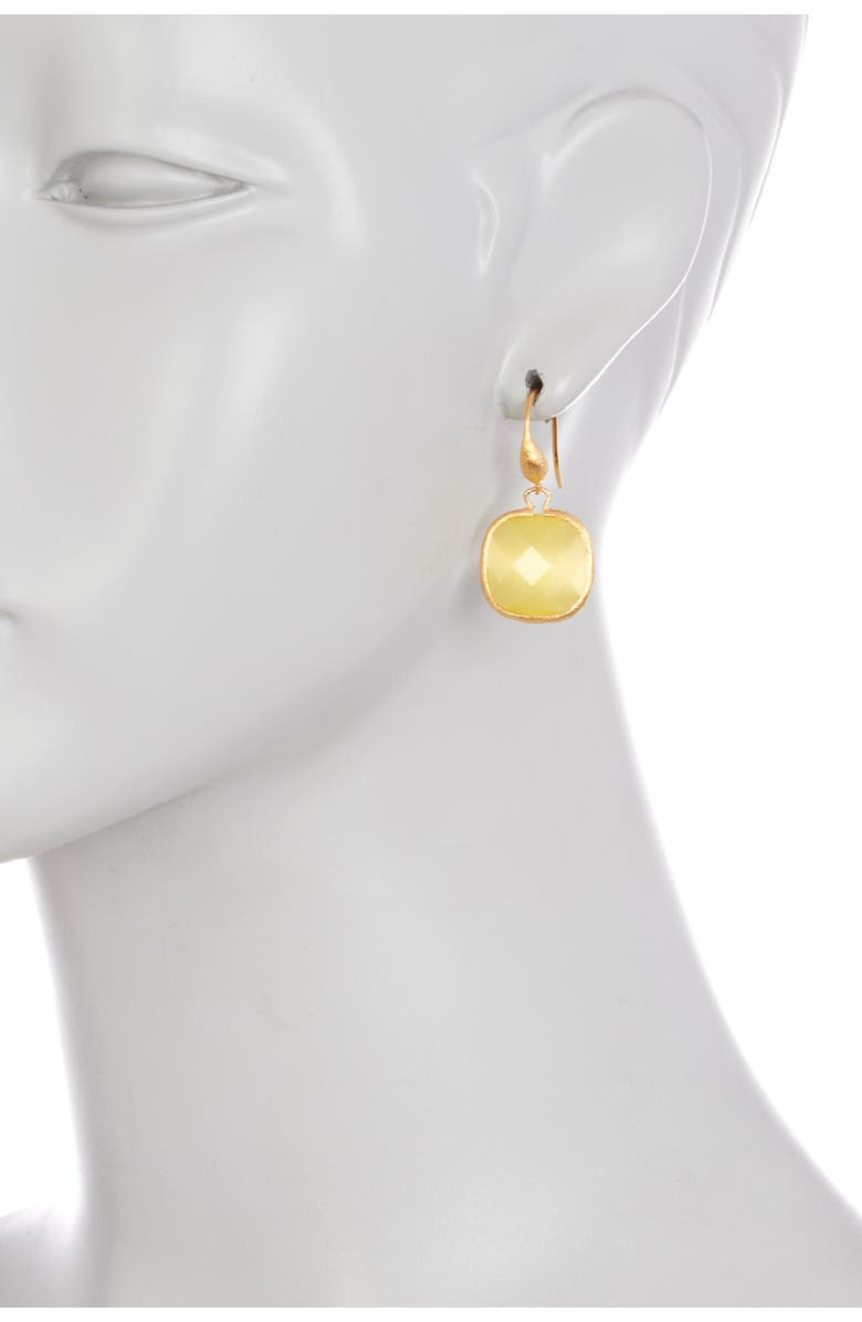 RIVKA FRIEDMAN Faceted Cushion Yellow Cat's Eye Crystal Dangle Earrings, Main, color, CANARY CATS EYE CRYSTAL