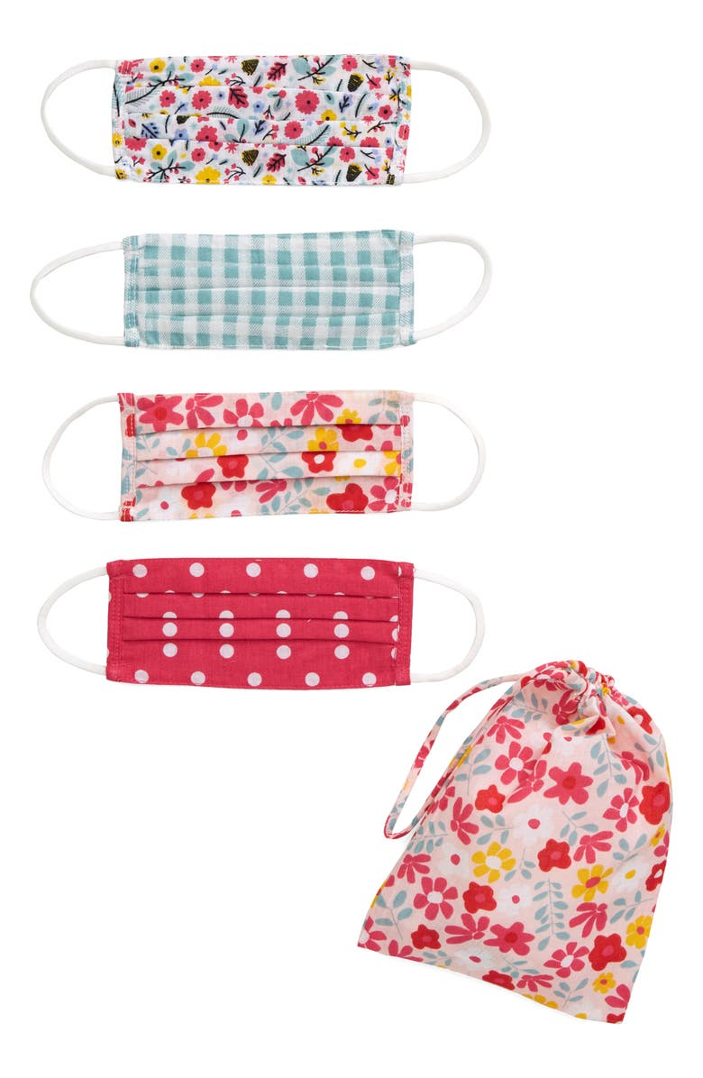 TUCKER + TATE Assorted 4-Pack Kids' Print Face Masks, Main, color, TEAL COMBO