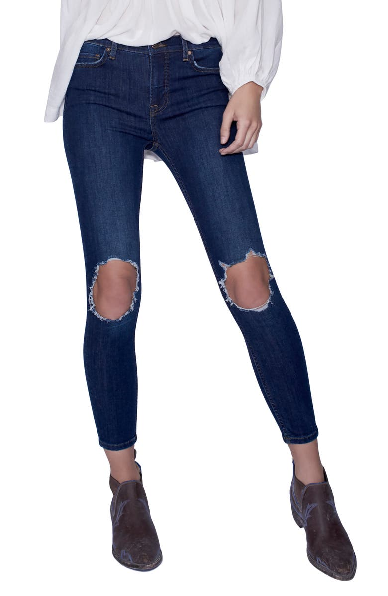 FREE PEOPLE We the Free by Free People High Rise Busted Knee Skinny Jeans, Main, color, Dark Blue