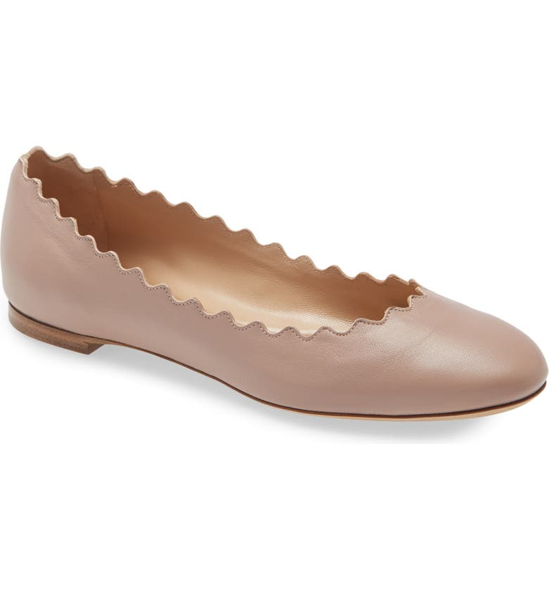 CHLOÉ Lauren Scalloped Ballet Flat, Main, color, PINK TEA