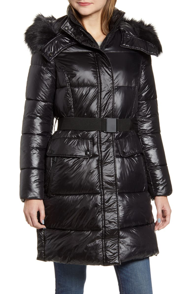 SAM EDELMAN Belted Faux Fur Detail Hooded Puffer Coat, Main, color, 001