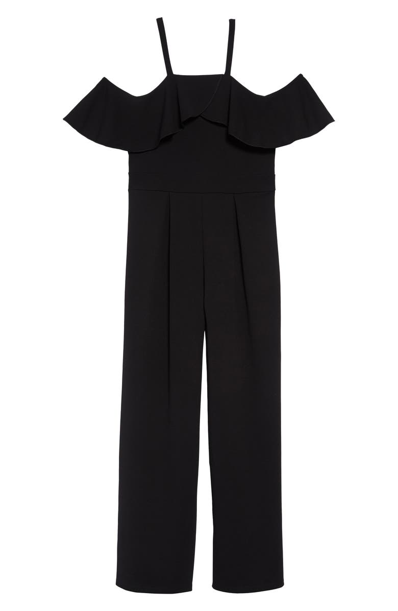LOVE, NICKIE LEW Ruffle Off the Shoulder Jumpsuit, Main, color, 001