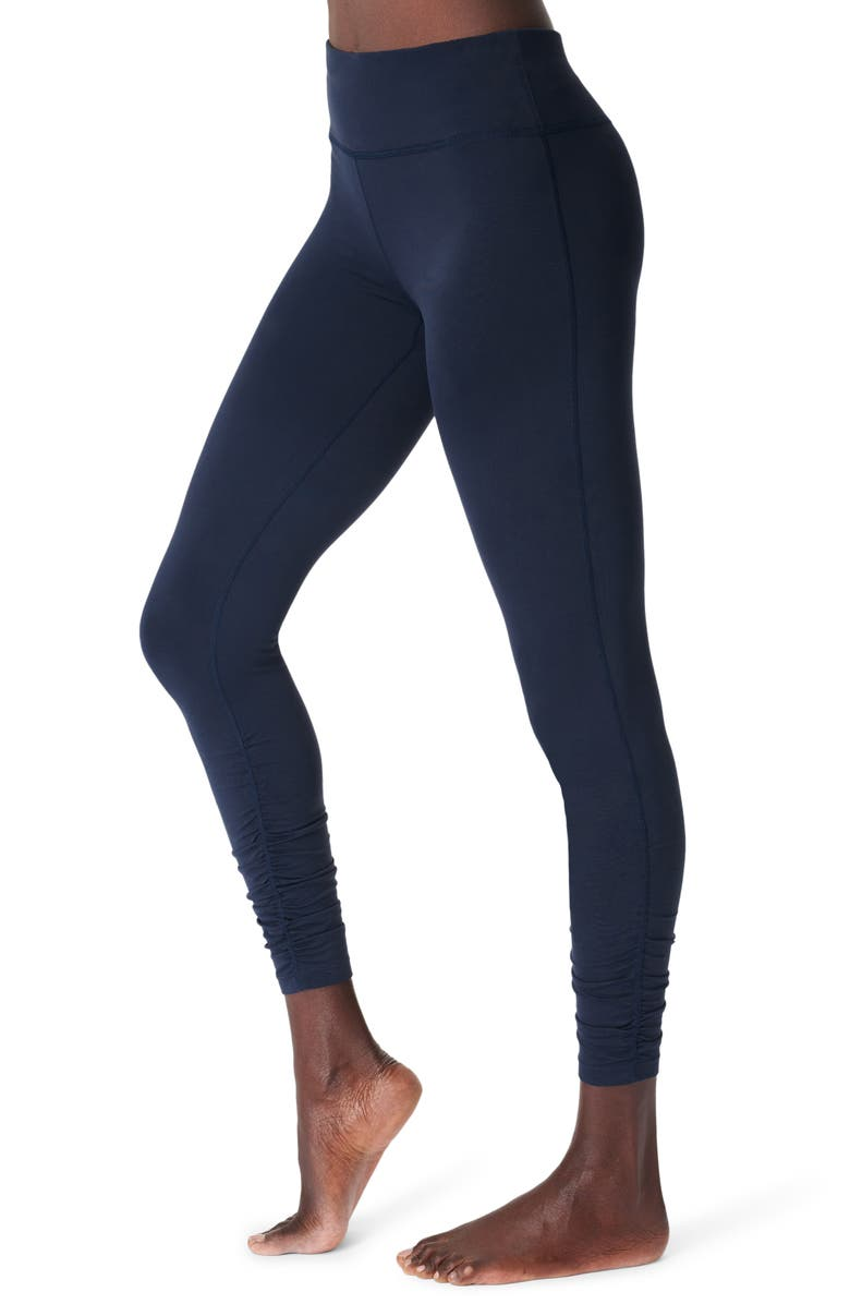 SWEATY BETTY All Day Ruched Hem 7/8 Leggings, Main, color, NAVY BLUE