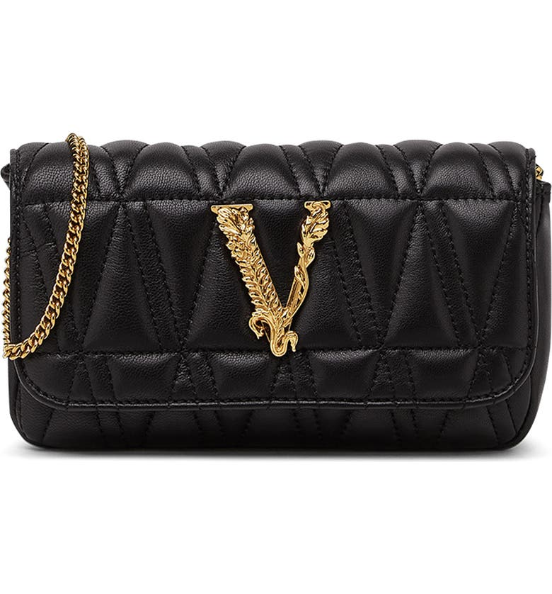 VERSACE First Line Virtus Mini Quilted Leather Bag, Main, color, 001