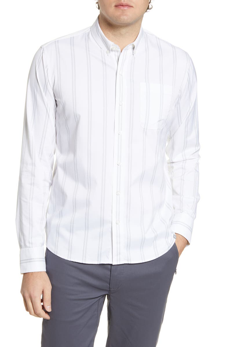 TOMMY JOHN Go Anywhere Stripe Button-Up Performance Shirt, Main, color, 103