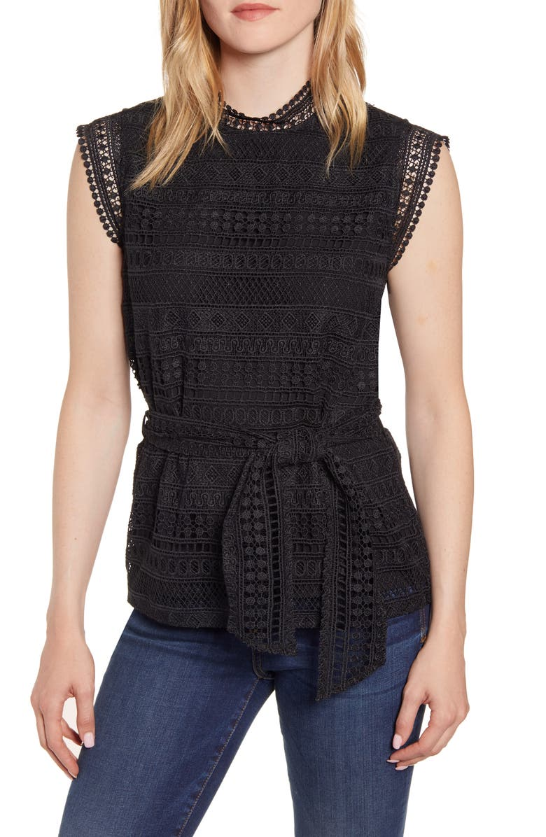 GIBSONLOOK Gibson Belted Lace Top, Main, color, 001