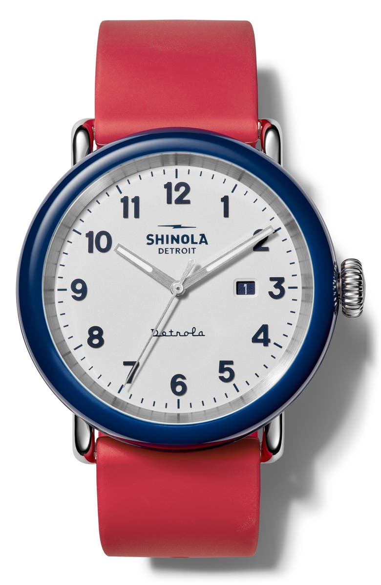 SHINOLA Detrola The Ace Silicone Strap Watch, 43mm, Main, color, RED/ WHITE/ MIDNIGHT BLUE