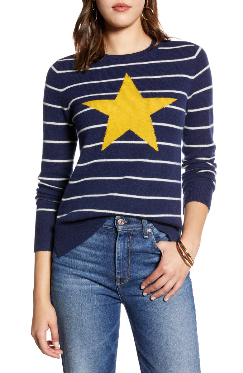 HALOGEN<SUP>®</SUP> Wool & Cashmere Intarsia Crewneck Sweater, Main, color, 410