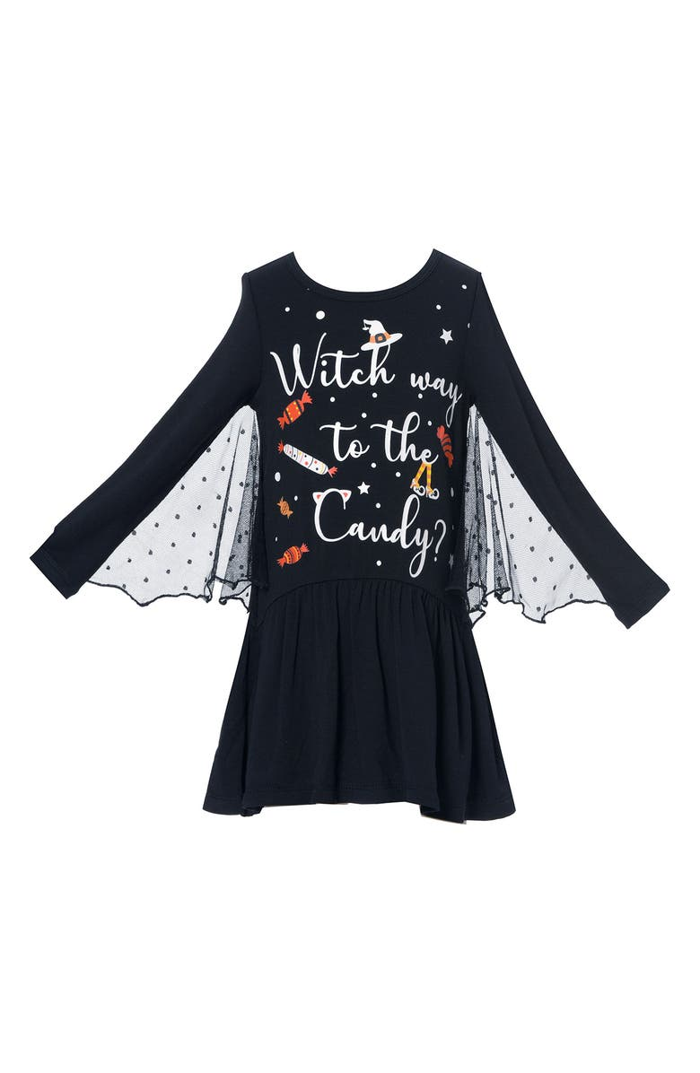 TRULY ME Kids' Bat Wing Glow in the Dark Long Sleeve Dress, Main, color, 006