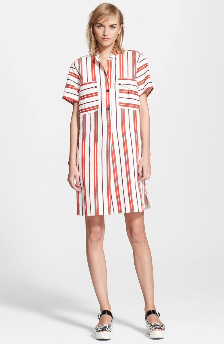 CREATURES OF THE WIND 'Danae' Stripe Cotton Linen Shirtdress, Main, color, 601