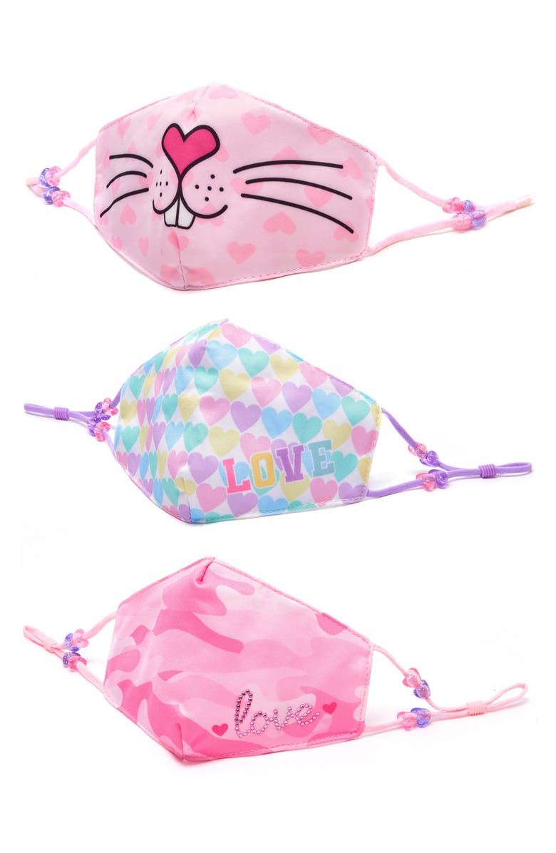 OMG ACCESSORIES 3-Pack Bunny Love Kids' Face Masks, Main, color, MULTI