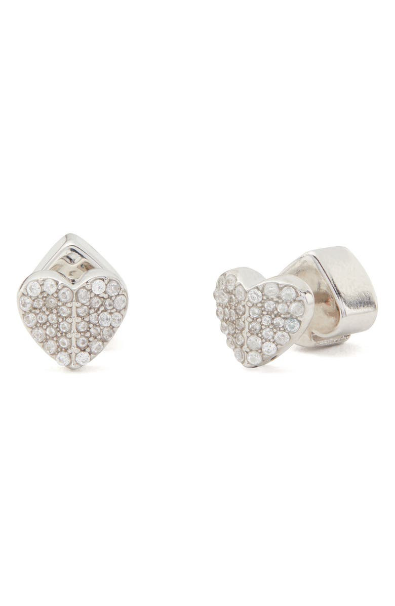 KATE SPADE NEW YORK heart to heart mini pavé stud earrings, Main, color, 040