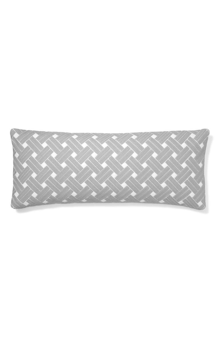 BOLL & BRANCH Basket Weave Oversize Lumbar Pillow Cover & Insert, Main, color, STONE