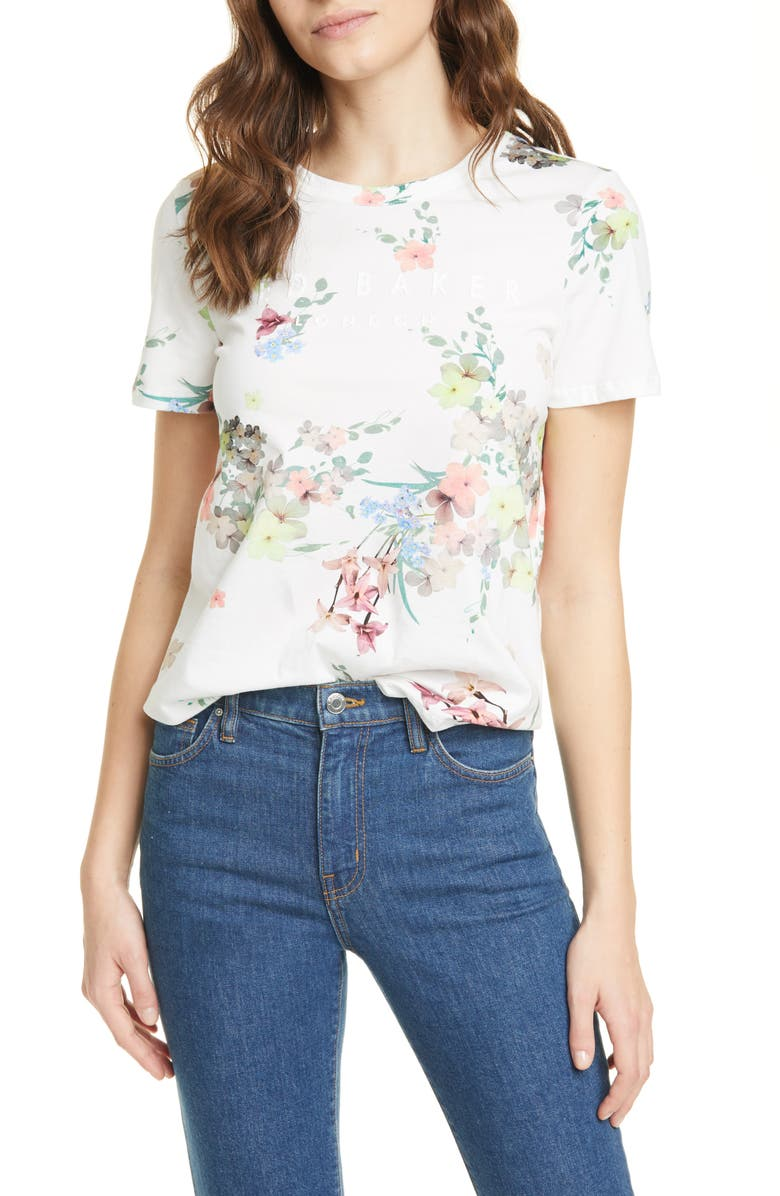 TED BAKER LONDON Lileeyy Pergola Floral Cotton T-Shirt, Main, color, IVORY