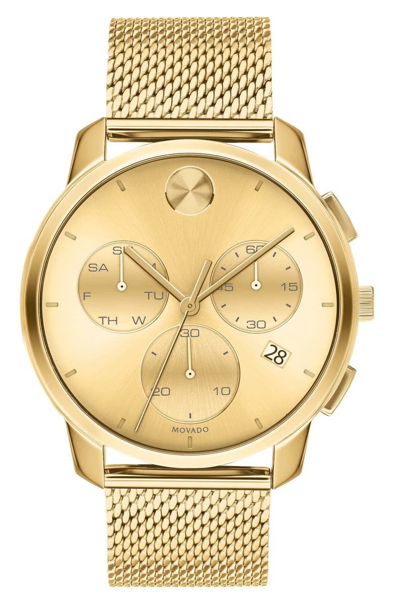 MOVADO Bold Chronograph Mesh Strap Watch, 42mm, Main, color, GOLD