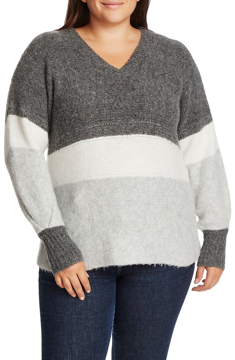 1.STATE Stripe V-Neck Tunic Sweater, Main, color, 013