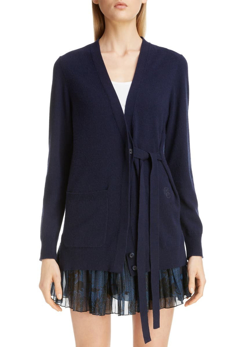 CHLOÉ Cashmere Tie Cardigan, Main, color, 400