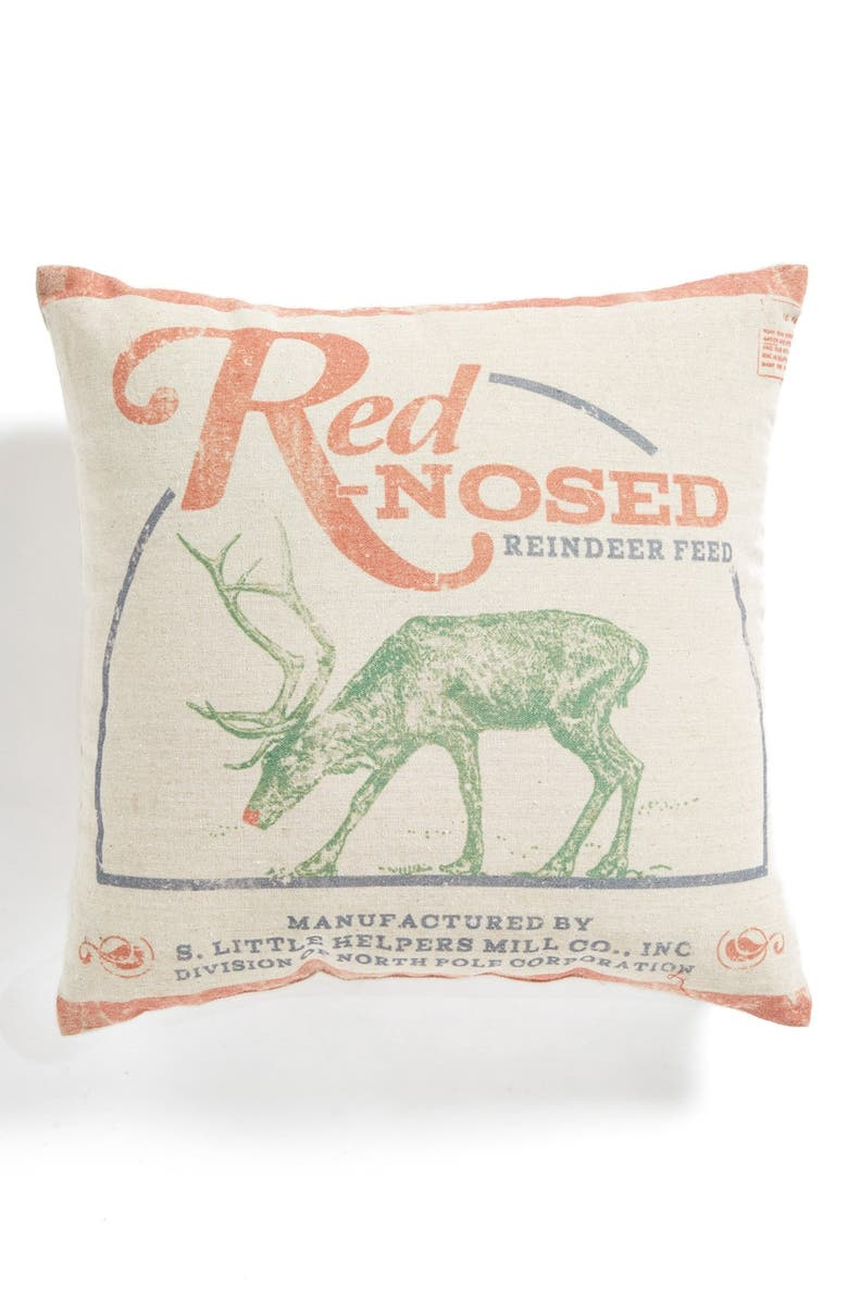 PRIMITIVES BY KATHY 'Red Nosed Reindeer' Pillow, Main, color, 900
