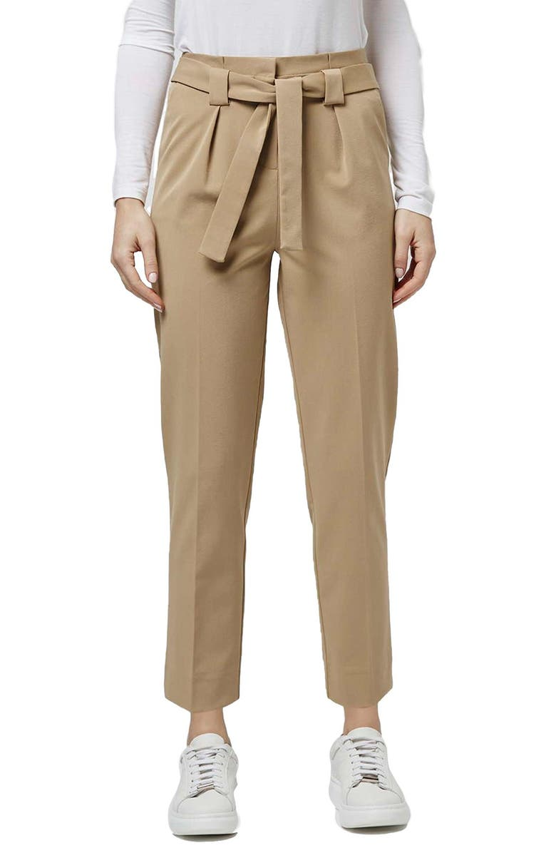 TOPSHOP Belted Tapered Paperbag Trousers, Main, color, 252