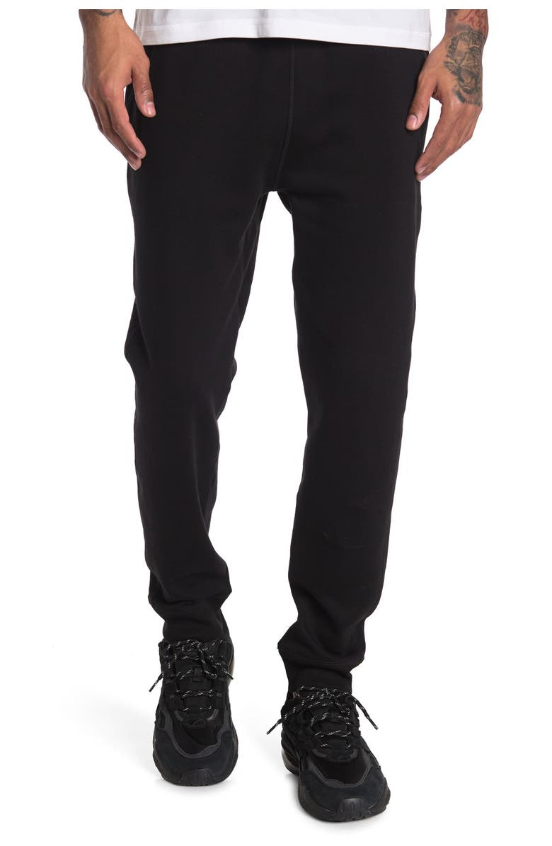 90 DEGREE BY REFLEX Brushed Fleece Joggers, Main, color, BLACK