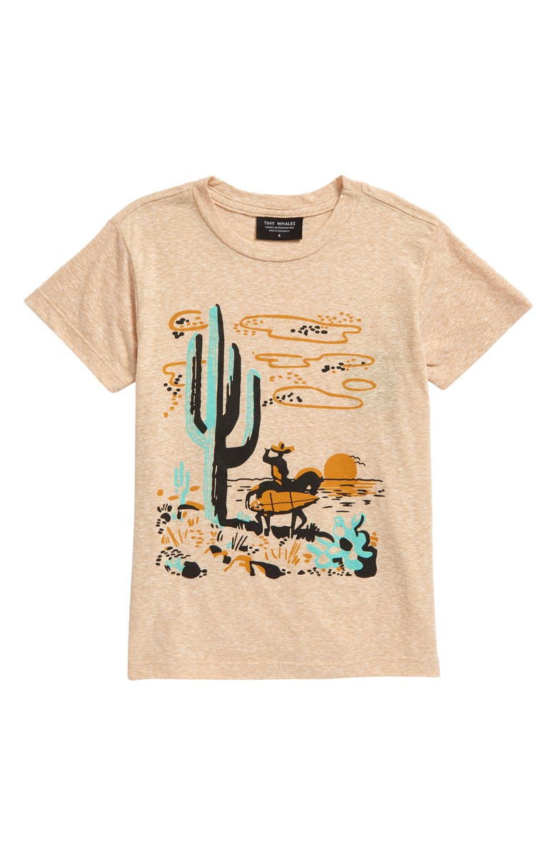 TINY WHALES Kids' In Search of Our Surf Graphic Tee, Main, color, TRI SAND
