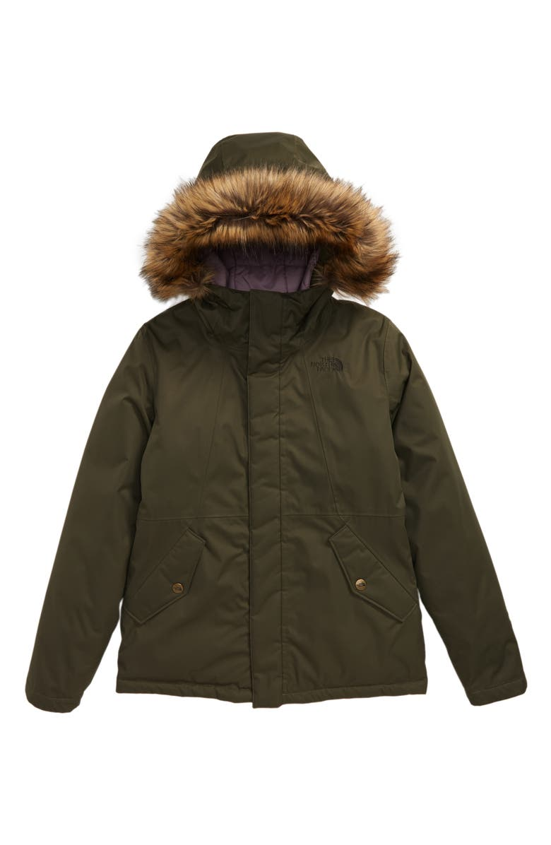 THE NORTH FACE Greenland Waterproof 550 Fill Power Down Jacket with Faux Fur Trim, Main, color, NEW TAUPE GREEN