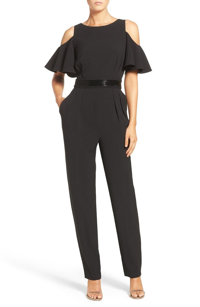 ELIZA J Cold Shoulder Jumpsuit, Main, color, 001