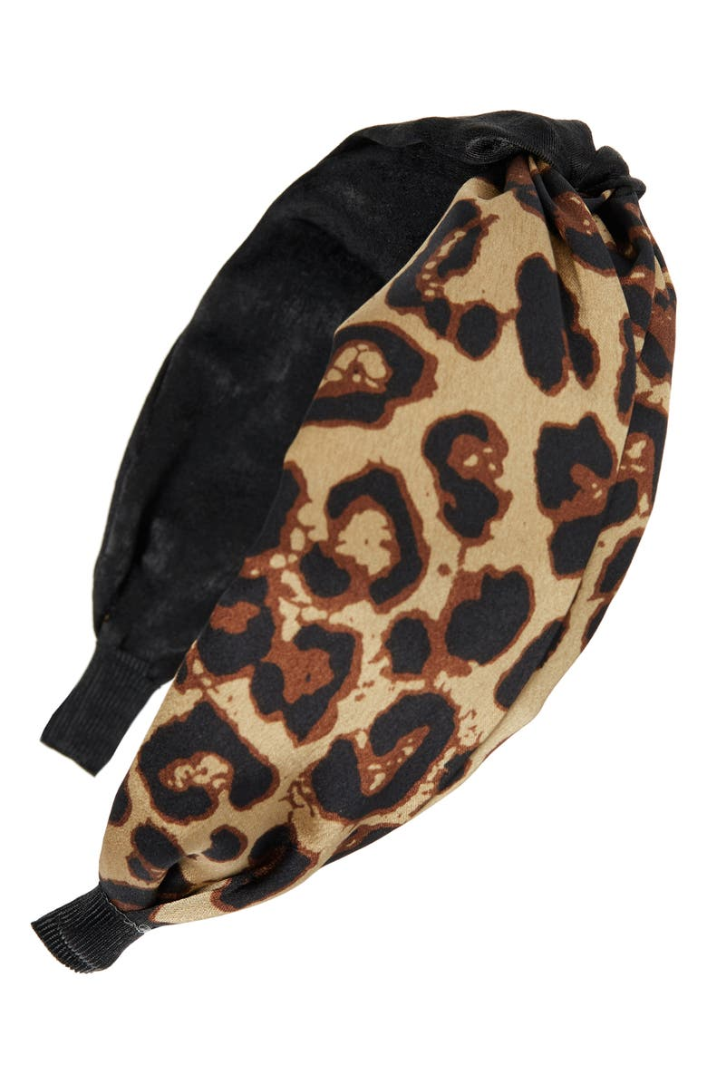 TASHA Leopard Knotted Headband, Main, color, TRUE LEOPARD/BLACK