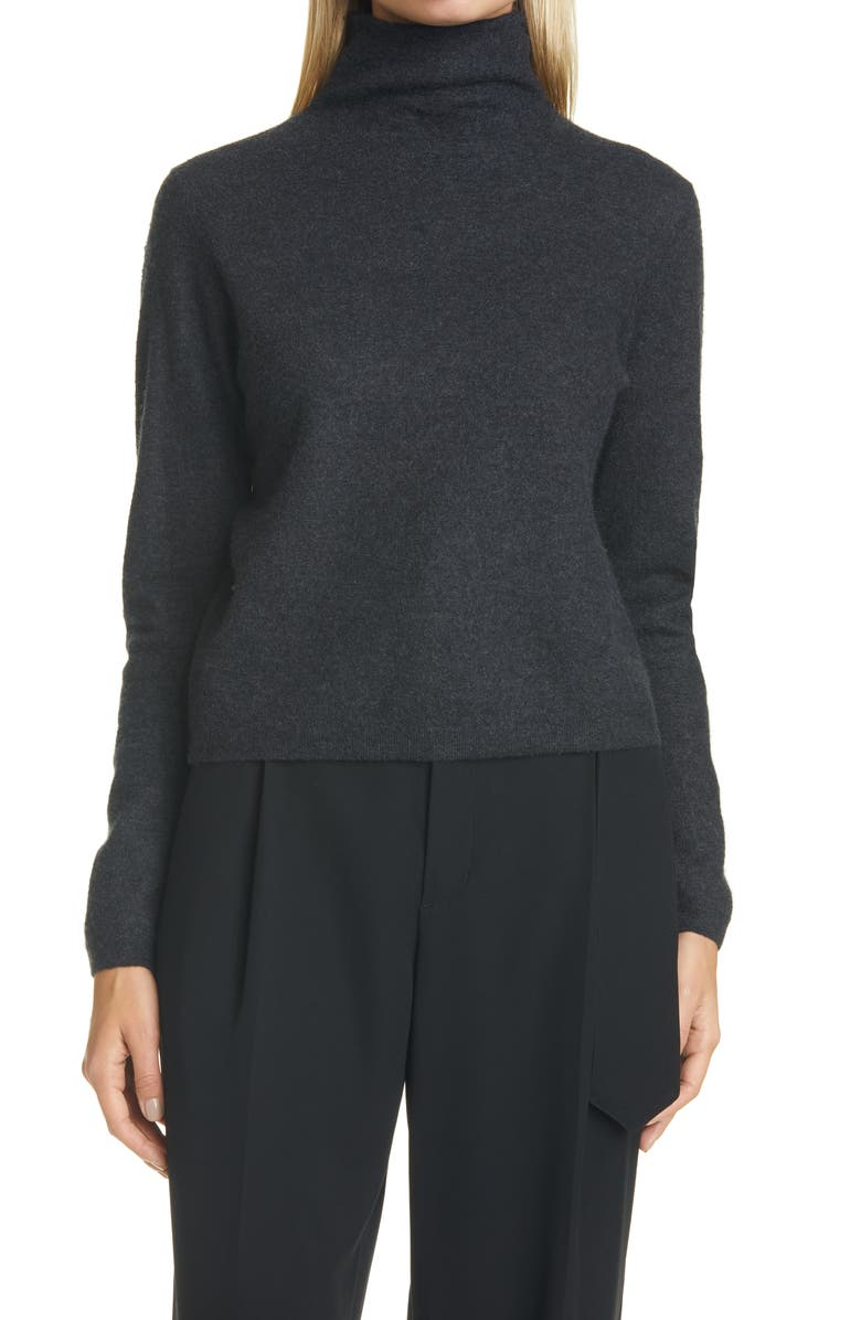 VINCE Cashmere Crop Turtleneck Sweater, Main, color, HEATHER CHARCOAL