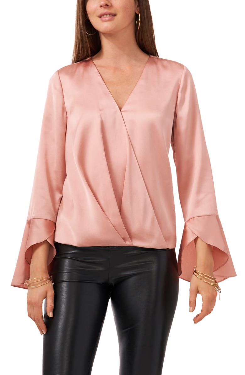 VINCE CAMUTO Bell Sleeve Satin Blouse, Main, color, ROSE MELODY