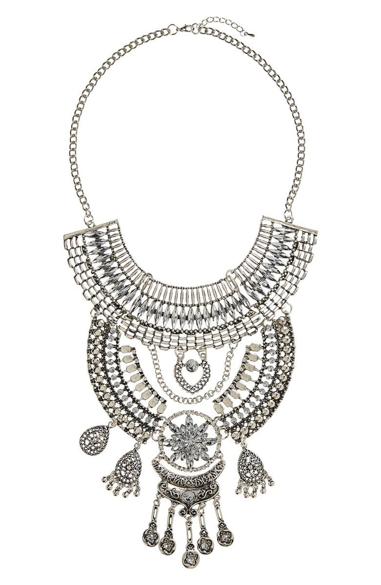 TOPSHOP Crystal Drop Statement Necklace, Main, color, 040