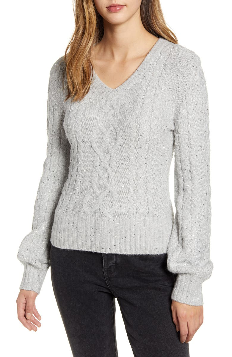 RACHEL PARCELL Sequin Cable Knit Puff Sleeve Sweater, Main, color, 050