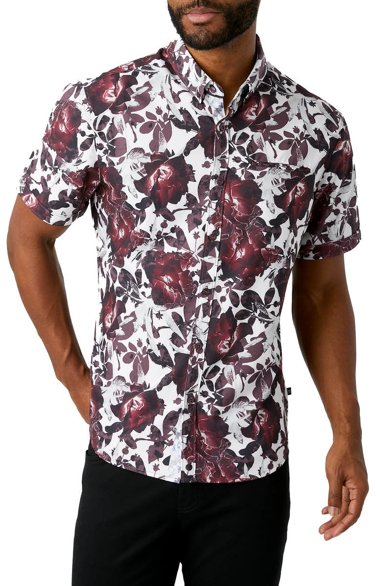 7 DIAMONDS Ruby Tuesday Floral Short Sleeve Button-Down Performance Shirt, Main, color, WHITE