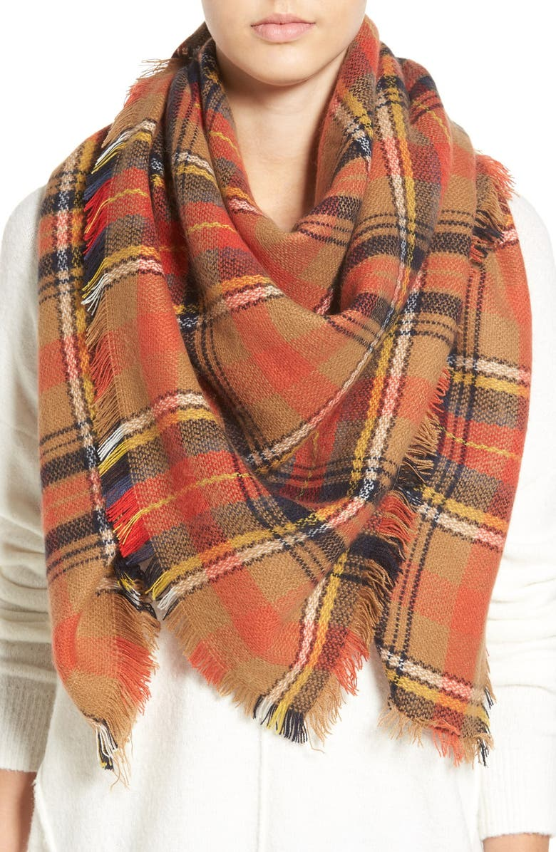 BP. 'Autumn' Plaid Scarf, Main, color, 800