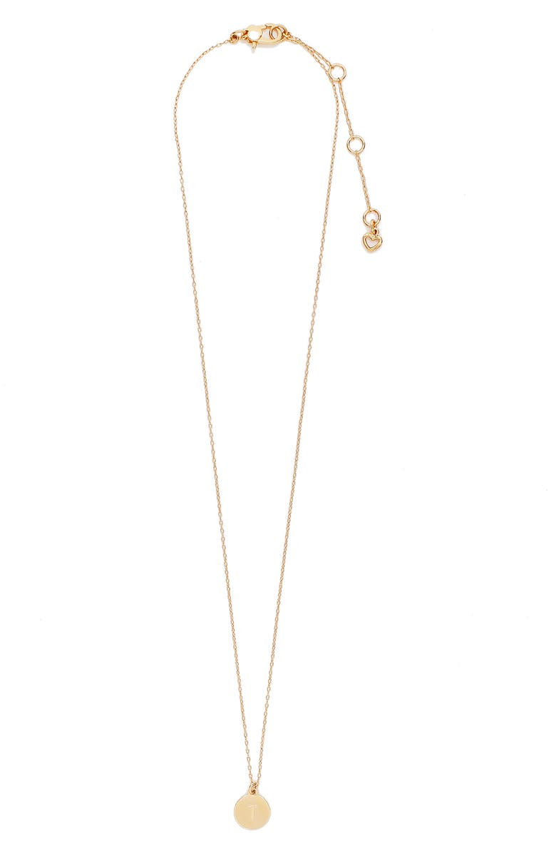 KATE SPADE NEW YORK mini initial pendant necklace, Main, color, GOLD - T