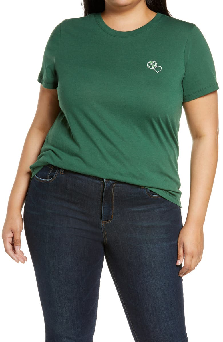 HALOGEN<SUP>®</SUP> Earth Embroidered T-Shirt, Main, color, 301