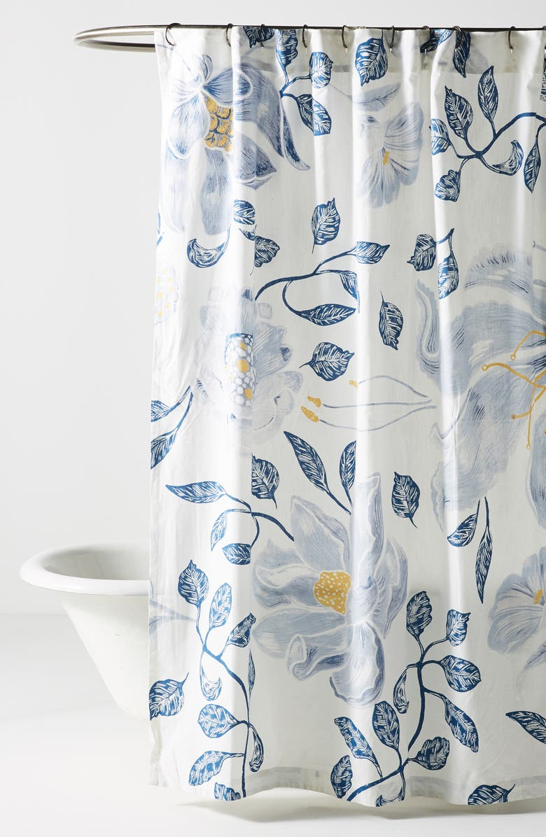 ANTHROPOLOGIE HOME Anthropologie Catamarca Floral Shower Curtain, Main, color, 100