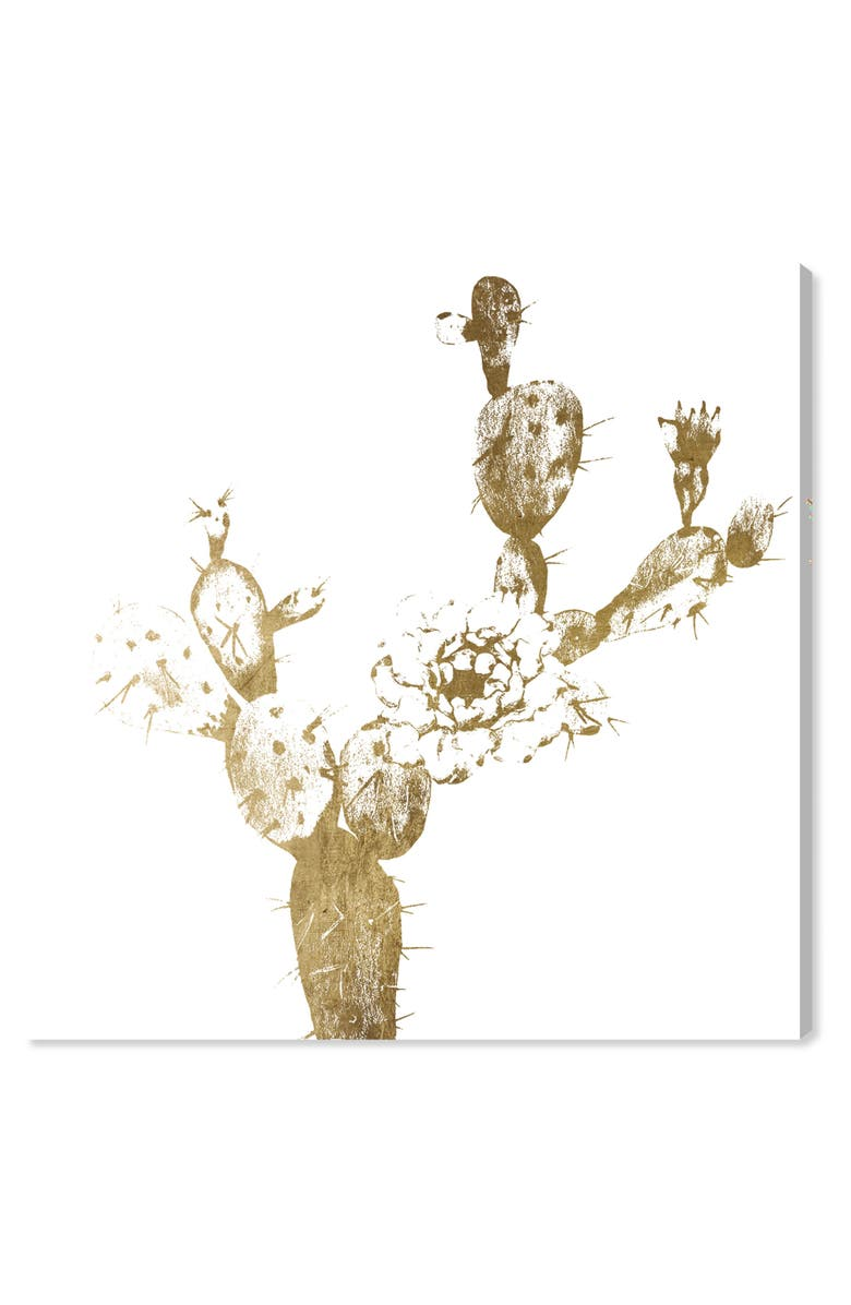 OLIVER GAL Cactus Gold I Canvas Wall Art, Main, color, METALLIC GOLD
