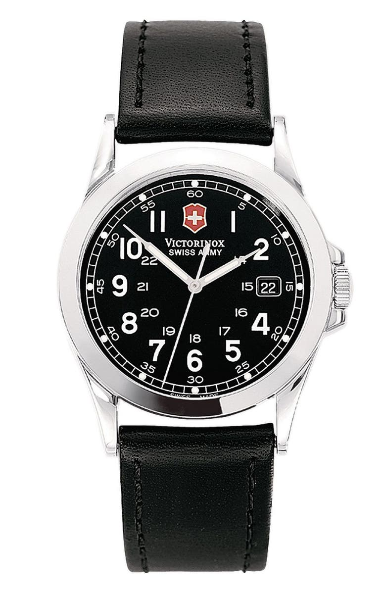VICTORINOX SWISS ARMY<SUP>®</SUP> 'Infantry' 38mm Watch with Leather Band, Main, color, 001