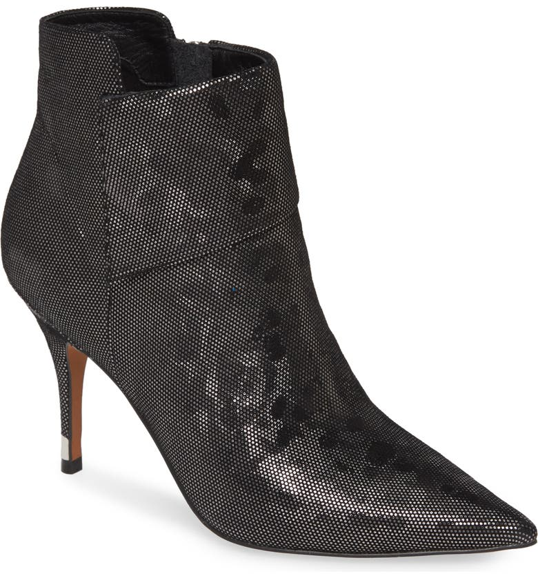 LINEA PAOLO North Bootie, Main, color, BLACK SILVER LEATHER