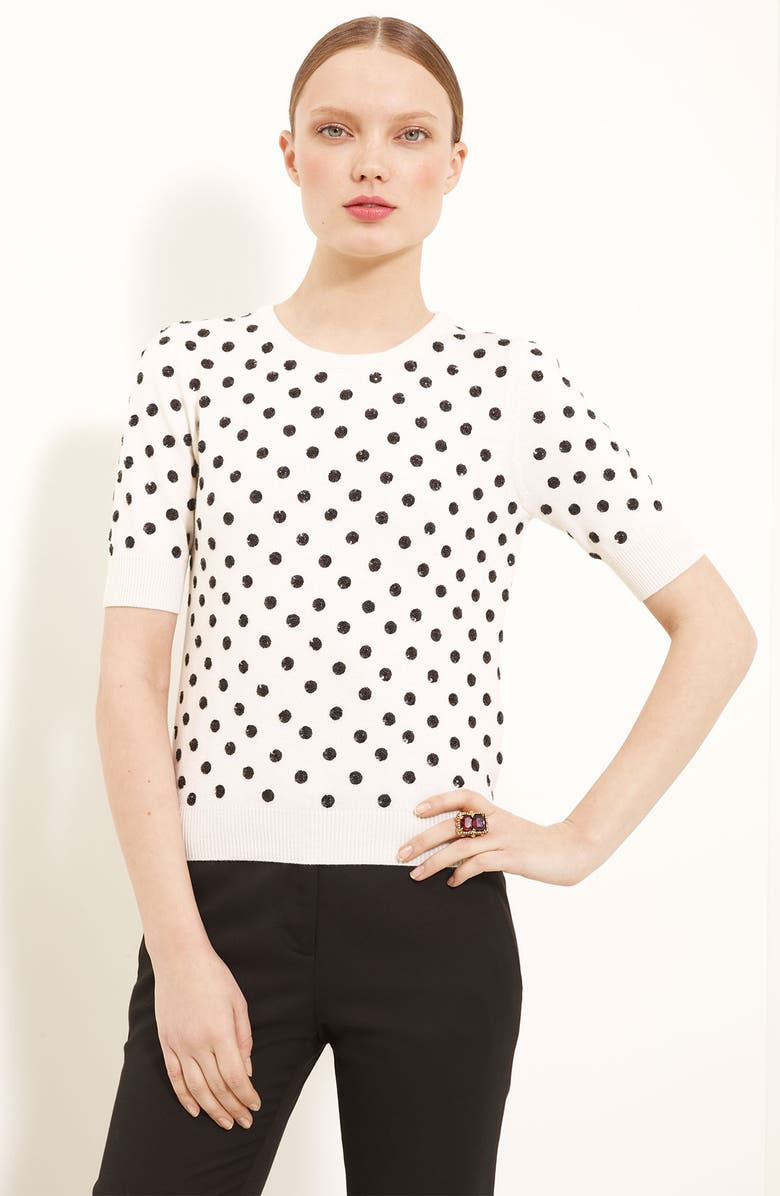 OSCAR DE LA RENTA Polka Dot Short Sleeve Sweater, Main, color, 199